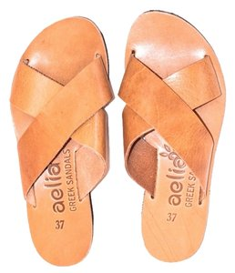 Aelia Greek Sandals Natural Beach Boho Tan Sandals