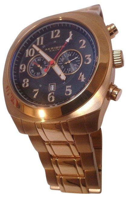 Item - Gold Ak624yg Chronograph Date Stainless Steel Bracelet Mens Watch