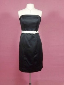 Alfred Angelo Black/Ivory Satin 7007 Formal Bridesmaid/Mob Dress Size 12 (L)