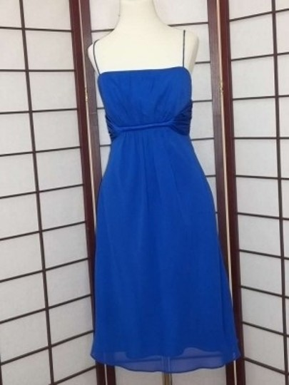 Alfred Angelo Cobalt Chiffon 7015 Formal Bridesmaid/Mob Dress Size 8 (M)
