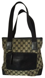 Gucci Canvas Black Tote Shoulder Bag