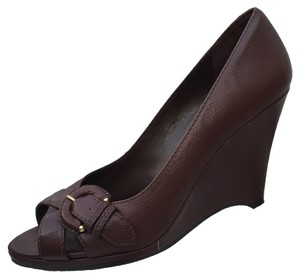 Banana Republic Leather Pump Sandal Brown Wedges