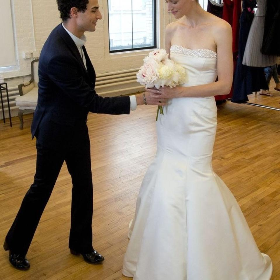 Zac Posen Pearl White/Ivory Satin Modern Wedding Dress Size 0 (XS ...