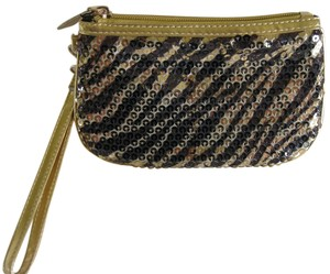 Contents by Allegro Allegro Gold & Sequined Tiger Striped Small Clutch w/Zipper & Wrist Strap - New w/Tags!