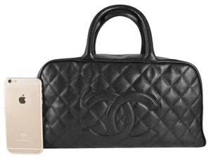 Chanel Caviar Cc Logo Satchel Bowling Shoulder Bag