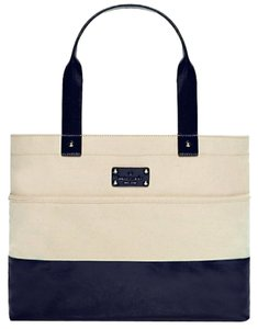 Kate Spade Magazine Tote in Natural/Navy