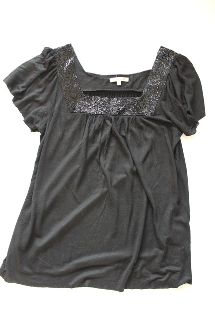 Matty M Beaded Shirt Tshirt Top Black Image 3