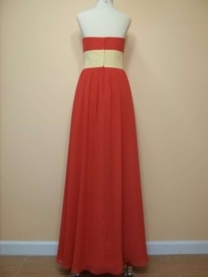Alfred Angelo Persimmon/Sunshine Chiffon 7017 Formal Bridesmaid/Mob Dress Size 12 (L)