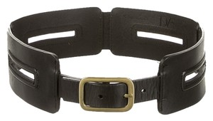 Diane von Furstenberg Diane Von Furstenberg / DVF - Black leather Slat Belt with Gold Buckle