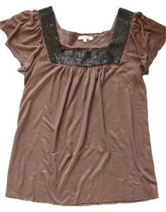 Matty M Beaded Shirt Top Brown