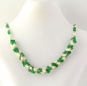 Freshwater Pearl Green Glass Strand Necklace - 19 Screw-on Clasp