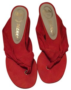 Delman Orange Red Sandals