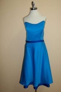 Alfred Angelo Marine Blue/Cobalt Satin 7044 Formal Bridesmaid/Mob Dress Size 10 (M)
