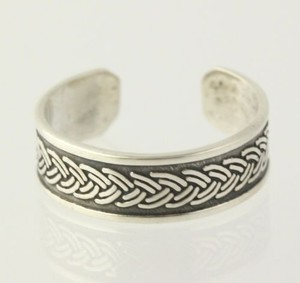 Rope Etched Toe Ring - Sterling Silver 925 Womens Adjustable Band
