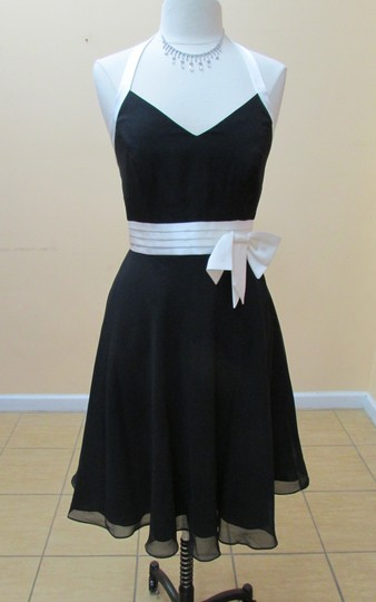 Alfred Angelo Black/Ivory Chiffon / Satin 7063 Formal Bridesmaid/Mob Dress Size 12 (L)