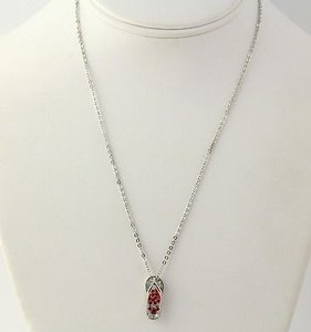 Disney Disney Mickey Mouse Flip Flop Pendant Necklace Red White Crystal 18 Cable Chain