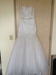 Alfred Angelo White Net Over Satin 2083 Formal Wedding Dress Size 2 (XS)