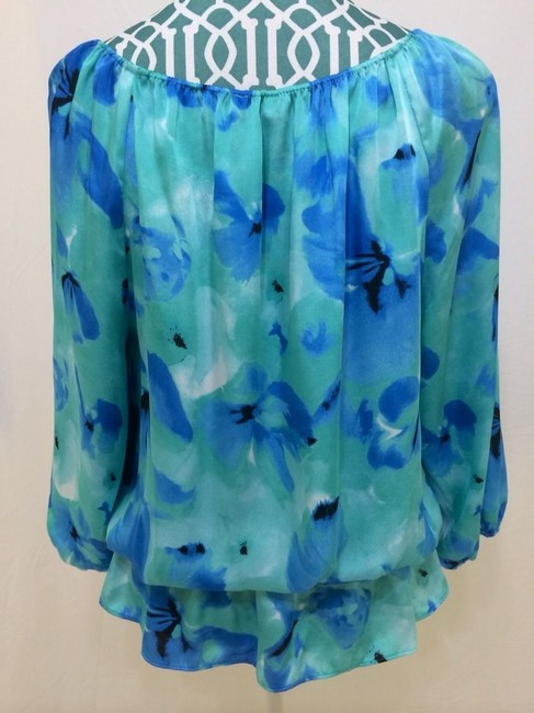 Vince Camuto Shirt Peplum Floral Women Ladies Misses Career Professional Suit Dress Dressy Work School Casual Chic Elegant Cute Top Malibu Blue