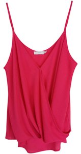 Lush Flowy Surplice Lightweight Sheer Top Pink