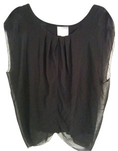 Romeo & Juliet Couture Flowy Sheer Fitted Shell Lined Top Black