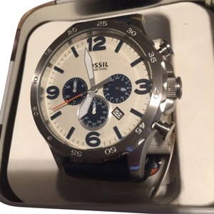 Fossil NATE CHRONOGRAPH NAVY LEATHER WATCH