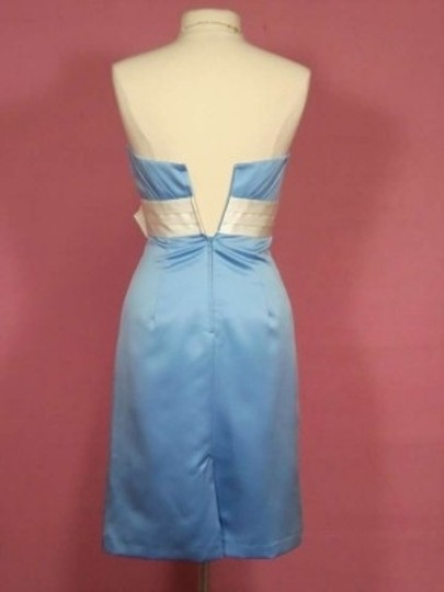 Alfred Angelo Blue Jay/Ivory Satin 7122 Formal Bridesmaid/Mob Dress Size 4 (S)