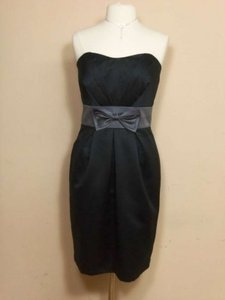 Alfred Angelo Black/Charcoal Satin 7128 Formal Bridesmaid/Mob Dress Size 14 (L)