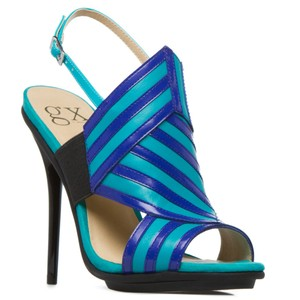 GX by Gwen Stefani Stiletto Platform Striped LIMITED EDITION Blue/Turquoise Pumps