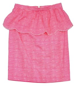 Lilly Pulitzer Hot Pink Gingham Peplum Skirt