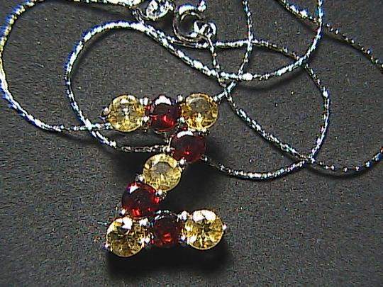 "Unknown Italy Sterling Silver 1.0 cts Garnet & 1.25 cts Citrine "" Z "" Initial Necklace"
