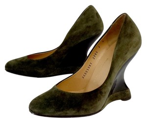 Salvatore Ferragamo Green Suede Wedges