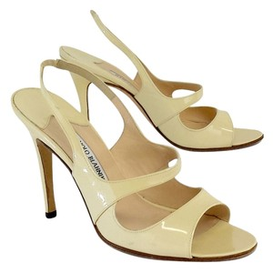 Manolo Blahnik Cream Patent Leather Heels Sandals