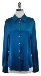 St. John Teal Silk Button Up Top