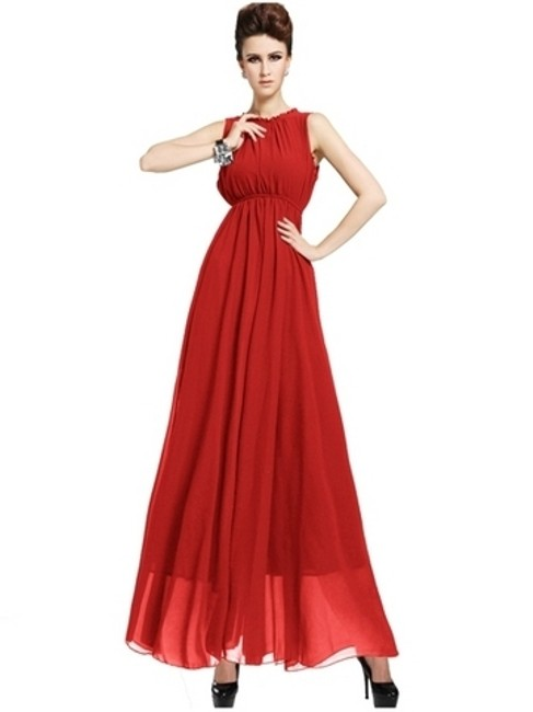 Item - Red Chiffon Beach Tank Destination Bridesmaid/Mob Dress Size 8 (M)