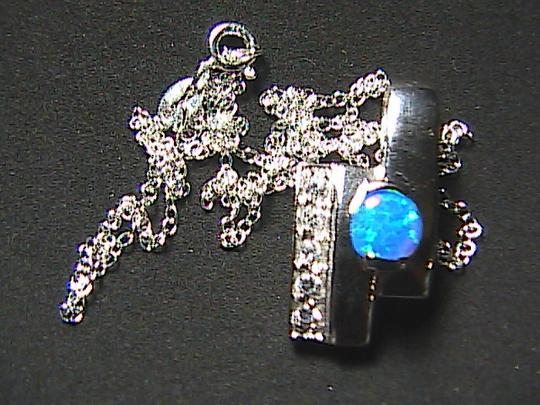 Unknown Sterling Silver .75 cts Opal & CZ Necklace Image 2