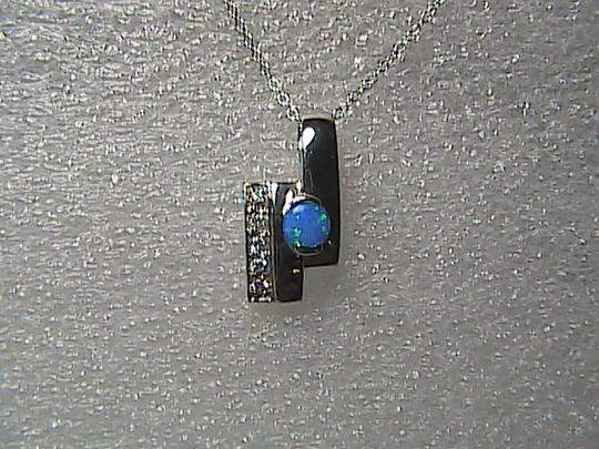 Unknown Sterling Silver .75 cts Opal & CZ Necklace