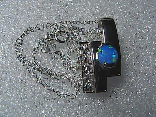 Unknown Sterling Silver .75 cts Opal & CZ Necklace Image 5