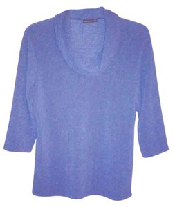 Notations Cowl Neck Polyester Top Blue