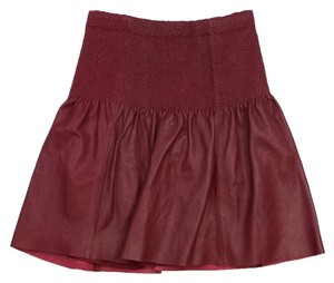 Leifsdottir Burgundy Gathered Leather Skirt
