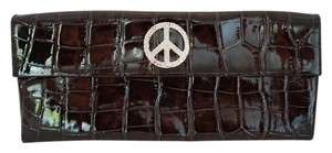 Donald J. Pliner Peace Sign Mother's Day Brown Clutch