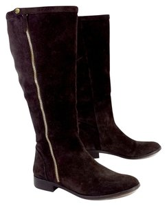 J.Crew Brown Suede Gold Zip Up Boots