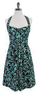 Nicole Miller Blue & Black Print Cotton Dress