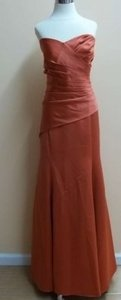 Alfred Angelo Burnt Orange Satin 7168 Formal Bridesmaid/Mob Dress Size 16 (XL, Plus 0x)