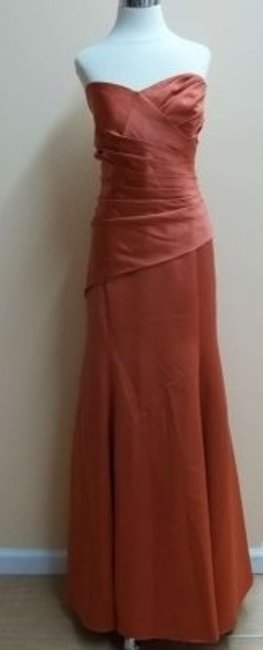 Item - Burnt Orange Satin 7168 Formal Bridesmaid/Mob Dress Size 16 (XL, Plus 0x)