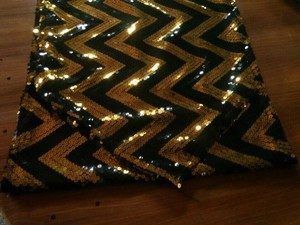 Gold and Black Chevron Sequin Table Runners Tablecloth