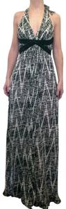 BCBGMAXAZRIA Halter Maxi Sequin Empire Waist Silk Dress