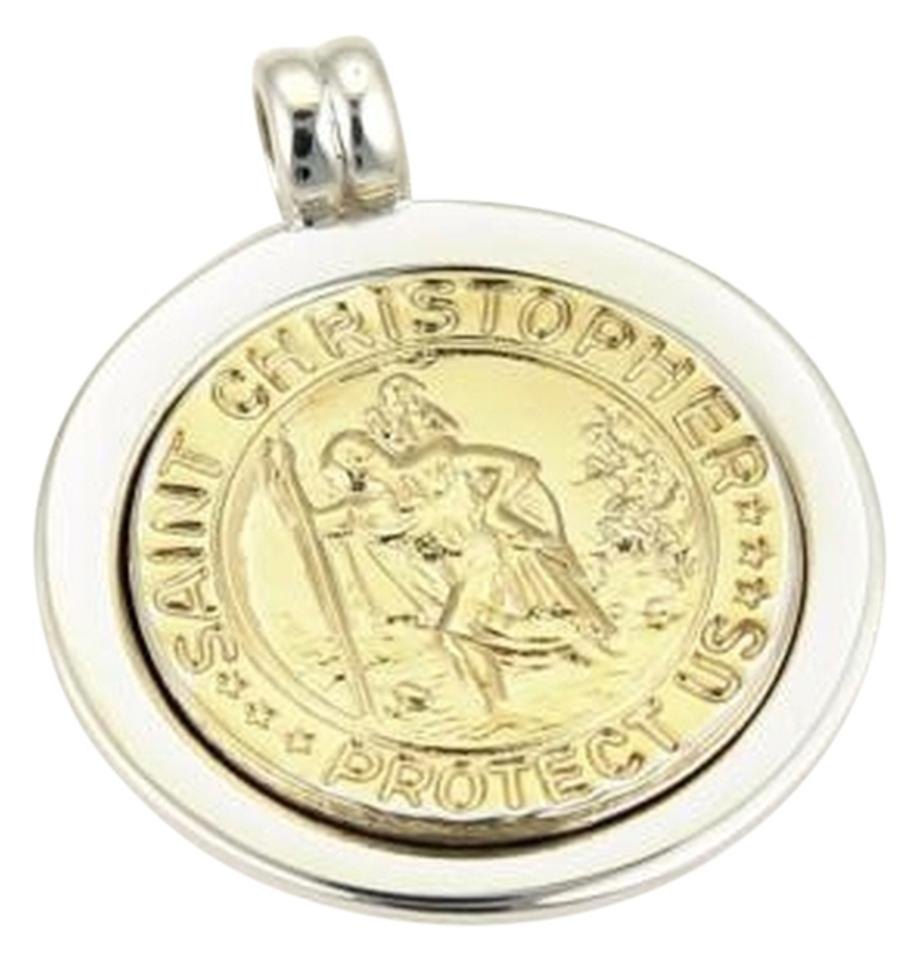 medal pendant white medallion christopher products saint gold