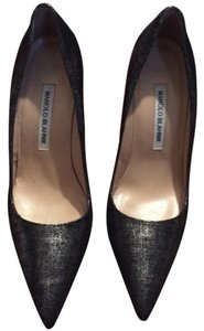Manolo Blahnik Black Silver Pumps