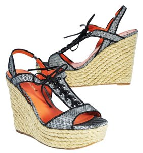 Via Spiga Wedge Lace Up Espadrille Orange Black Wedges