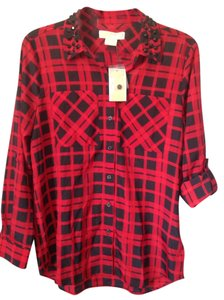 Michael Kors Stylish Button Down Shirt Red&black